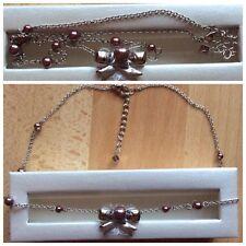 Collier MISAKI Nœud de papillon Perles marrons Neuf Authentique