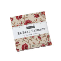 """LE BEAU PAPILLON~MODA FABRIC~42-5"""" SQUARES~CHARM PACK~FRENCH GENERAL~13860PP"""