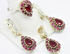 turkish jewelry 925 sterling silver ladies womans red ruby stone set ALL SİZE us