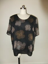 PRE LOVED YOUNG EDWARDIAN 18 LADIES SHEER TOP BLOUSE BLACK FLORAL BROWN TUNIC