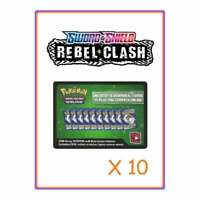 10 Sword and Shield Rebel Clash Codes | Pokemon TCG Online Cards Quick Email