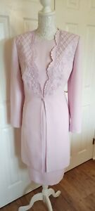 CONDICI Sz 16 Mother Of The Bride Pink Dress & Long Duster Coat Wedding Outfit.