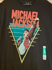 NWT Michael Jackson XL 46/48 Retro Graphic Black Cotton T-Shirt MJ Performance