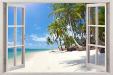 Huge Window Wall sticker Tropical Beach View Palm Vinyl Decor 3d Mural Art Home
