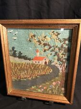 Vintage Needlepoint Cottage Wall Picture