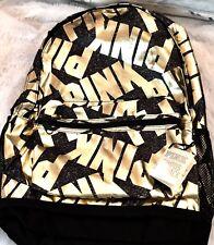 Victoria's Secret School Black Marl w/ Gold Lettering, Backpack Large NWT