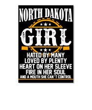 Born In North Dakota Girl Facts Sticker - Portrait
