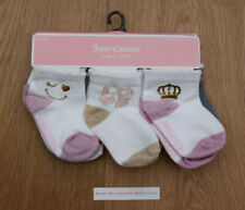 Juicy Couture Baby Girl Socks ~ 6 Pairs ~ Ivory, Pink, Gray & Gold~ 12-18 Months