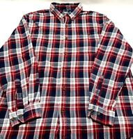 Carhartt Mens Long Sleeve Flannel Shirt Red White Plaid Button Down Size XL EUC