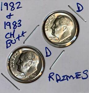 1982 D & 1983 D Roosevelt Dimes Ch BU US (2 Coins)