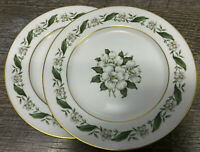 Set of 2 Magnolia Royal Jackson Bread & Butter plates White Center Flowers 6.25""