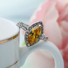 Silver Plated Engagement Mosaic Crystal Rhombus Shaped Rings Yellow Zircon