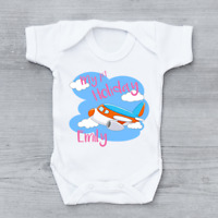 Personalised My First 1st Holiday Aeroplane Girls Baby Grow Bodysuit
