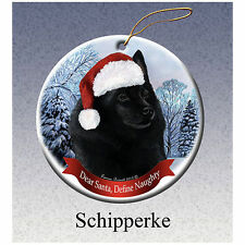 Schipperke Howliday Porcelain China Dog Christmas Ornament