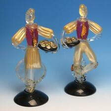 Vintage Salviati Murano Italian Art Glass - Pair of Glass Figures Holding Trays