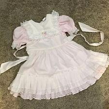Vintage BRYAN Pink White Polka Dot Pinafore Frilly Ruffles Lace Dress Size 5