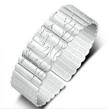 Fashion Lady 925 Sterling Silver Plated Wide Flower Open Cuff Bangle Bracelet