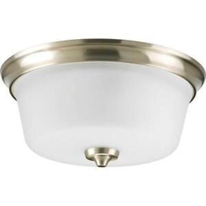 Progress Lighting Lahara 2-Light Brushed Nickel Flush Mount w/ Etched Glass