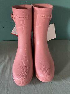 Hunter Original Pink Textured Short Boot Size 5