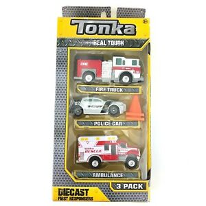 Tonka Real Tough Die Cast First Responders 3pk Fire Truck/Police Car/Ambulance