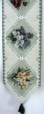 "Vintage Tapestry Table Runner Floral With Tassels 68 1/2"" X 12 1/4"" Hand Wash"