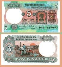 INDIA 5 RUPEES 1975 (1985-90) UNC P.80o Sign 85 R.N.MALHOTRA , WITHOUT LETTER