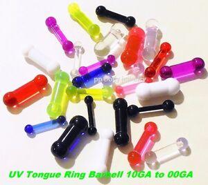 1PC. UV Reactive Acrylic Tongue Ring Barbell 10g to 00G