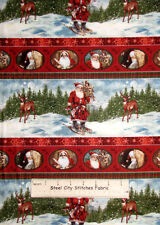 Christmas Santa Deer Fabric ~ 100% Cotton By The Yard ~ Day In The Life Of Santa
