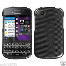 BlackBerry Q10 Snap On Hard Case Cover Accessory Carbon Fiber Print