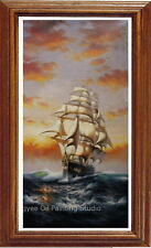 """Oil on canvas Repro seascape Nautical age warship sailing boat painting 24""""x48"""""""