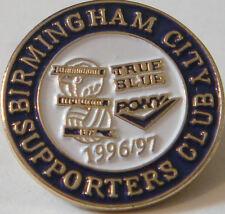 BIRMINGHAM CITY Rare 1996-97 SUPPORTERS CLUB Badge Brooch pin Gilt 22mm x 22mm
