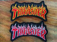 2 PCS THRASHER Embroidered Patch Iron on sew Decorate Skateboard Sprots Extreme