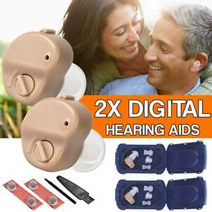 1/2PCS Mini In Ear Digital Hearing Deaf Aid Sound Voice Amplifier Enhancer