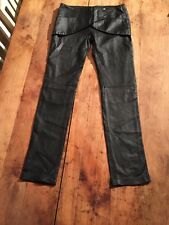 """Bel Air Chic Français Noir Souple Fine agneaux Cuir Chaud Pantalon Taille 30""""."""