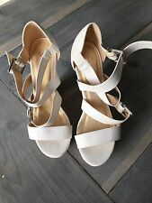 Just Fab White Strappy Wedge 7.5