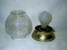 Vintage Flush Mount Celling Light Fixture Brass Acorn Bubble Glass Globe 1950's