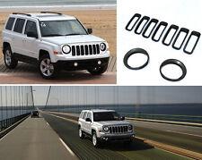 Car Front Grille Trim + HeadLight Lamp Cover Trim For 2011-17 Jeep Patriot Black