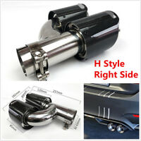 Stainless Steel+100% Real Carbon Fiber H Style Car Exhaust Dual Pipe Right Side