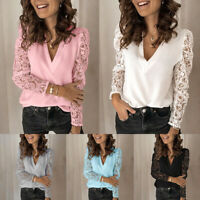 Summer Women Sexy Lace Tops V Neck Blouse Lady Casual Mesh Long Sleeve Shirt