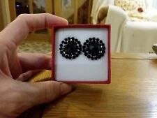 Brand new large clip-on earrings with black diamanté crystals + gift box