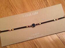 Chan Luu NWT Sterling silver 18K adj  Semiprecious blue saphire leather necklace