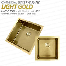 450mm Square LIGHT GOLD 304 Stainless Steel Laundry/Kitchen Sink | Premium PVD