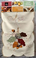 "NWT Homewear Leaf Crisp Cutwork 72"" Table Runner"