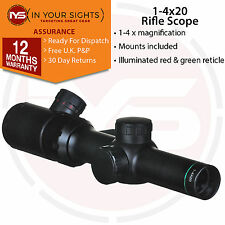 1-4x20 Rifle scope / Shockproof lluminated glass reticle tactical scope & mounts