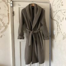 Zara Grey Mink Long Wrap Wool Coat Size XS 8-10