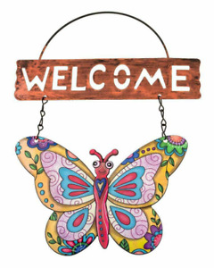 Butterfly Metal Wall Art Outdoor Garden Wall Fence Decor Hanging Welcome Sign UK