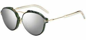 Dior Eclat Women's Green Marbel/Gold Tone Round Sunglasses - DIORECLAT 0GC1 DC