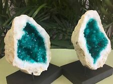 Large Geode Crystal Quartz Specimen Open Geode Pair W/Stands Morocco Blue Geode.