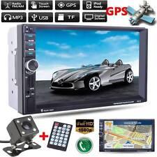 "7"" Double 2Din Car Audio Player Stereo Fm Radio Gps Nav Bluetooth Usb Aux+Camera"