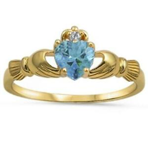 .925 Sterling Silver Yellow IP Gold Aquamarine Heart Claddagh Ring Sizes 6-10